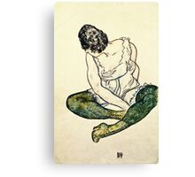 Egon Schiele - Seated Woman With Green Stockings  Canvas Print