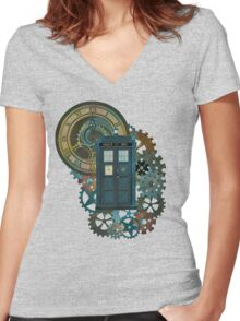 TARDIS Art Doctor Who  Women's Fitted V-Neck T-Shirt