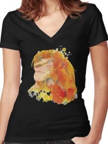 The King of Jungle Women's Fitted V-Neck T-Shirt