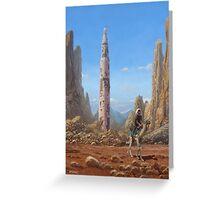 Old Saturn V rocket in desert Greeting Card