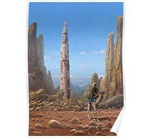 Old Saturn V rocket in desert Poster