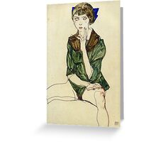 Egon Schiele - Sitting Woman In A Green Blouse 1913 Greeting Card