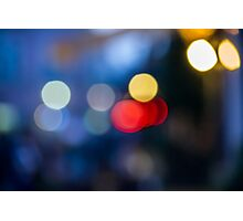 abstract background of blurred street lights with bokeh effect Photographic Print