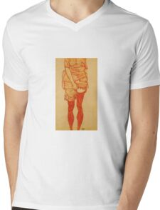 Egon Schiele - Standing Woman In Red 1913 Mens V-Neck T-Shirt
