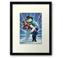 Children and Snowman playing together Framed Print
