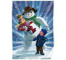 Children and Snowman playing together Poster