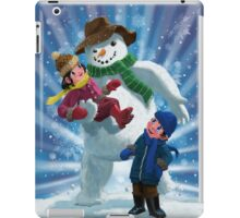 Children and Snowman playing together iPad Case/Skin