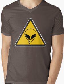 Smoking Alien Alert Mens V-Neck T-Shirt