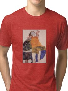 Egon Schiele - Two Seated Girls 1911 Tri-blend T-Shirt