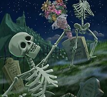 Romantic Valentine Skeletons in Graveyard by martyee