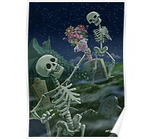 Romantic Valentine Skeletons in Graveyard Poster