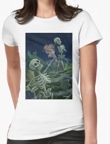 Romantic Valentine Skeletons in Graveyard Womens Fitted T-Shirt