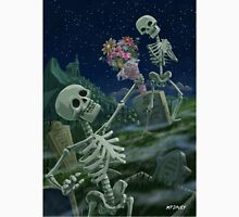Romantic Valentine Skeletons in Graveyard Unisex T-Shirt