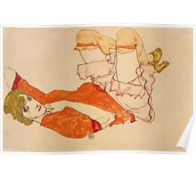 Egon Schiele - Wally In Red Blouse With Raised Knees 1913 Poster
