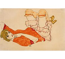 Egon Schiele - Wally In Red Blouse With Raised Knees 1913 Photographic Print