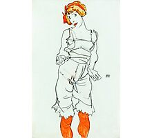 Egon Schiele - Woman in Underclothes and Stockings (Wally Neuzil) (1913)  Photographic Print