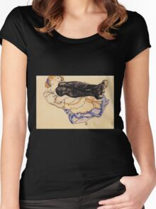 Egon Schiele - Woman With Blue Stockings 1912 Women's Fitted Scoop T-Shirt