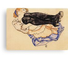 Egon Schiele - Woman With Blue Stockings 1912 Canvas Print