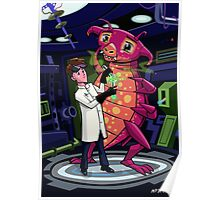 Manga professor with nice Pink Monster Experiment Poster