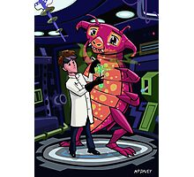 Manga professor with nice Pink Monster Experiment Photographic Print