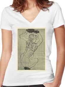 Egon Schiele -Kauernde Squatting Woman  Women's Fitted V-Neck T-Shirt