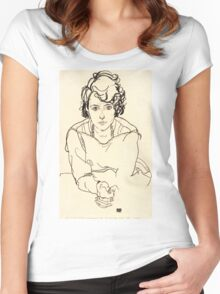 Egon Schiele -Seated Woman  Women's Fitted Scoop T-Shirt