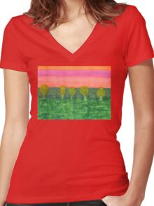 Trees, Green and Evening Sky Women's Fitted V-Neck T-Shirt