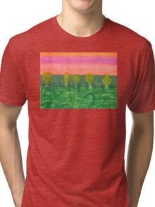 Trees, Green and Evening Sky Tri-blend T-Shirt