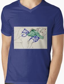 Egon Schiele -Two Friends, Reclining (Tenderness)  Mens V-Neck T-Shirt