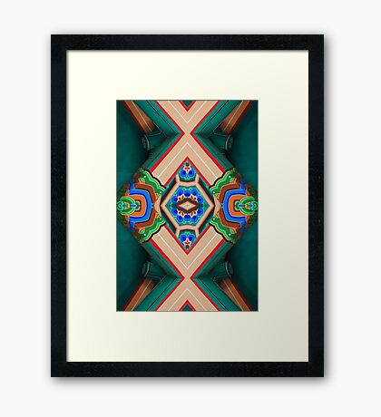 Korean Pagoda multicolored abstract Framed Print