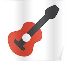 Wood Guitar Icon Poster