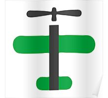 Green Toy Air Plane Icon Poster