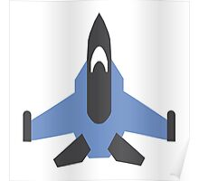 Blue Military Jet Icon Poster