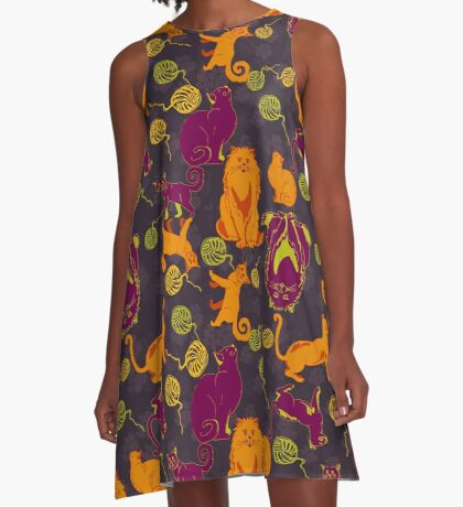 Pattern with cats and yarns A-Line Dress