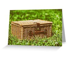 Picnic Basket Hamper With Leather Handle In Green Grass Greeting Card