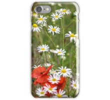 poppy and daisy flowers background iPhone Case/Skin