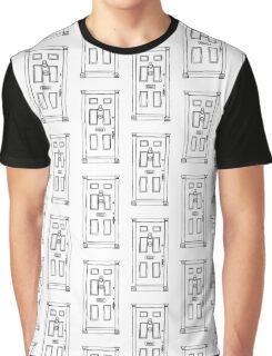 221b Baker Street Door - Monochrome Graphic T-Shirt