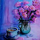 Morning Tea and flowers by Deb Reynolds