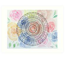 Mandala on Watercolor Flowers Art Print