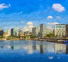 Salthouse Dock Panorama with oil paint effect by Paul Madden