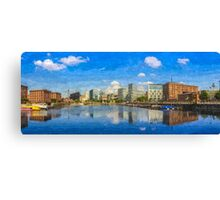 Salthouse Dock Panorama with oil paint effect Canvas Print