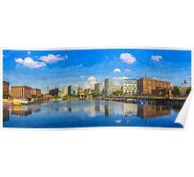 Salthouse Dock Panorama with oil paint effect Poster