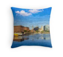 Salthouse Dock Panorama with oil paint effect Throw Pillow