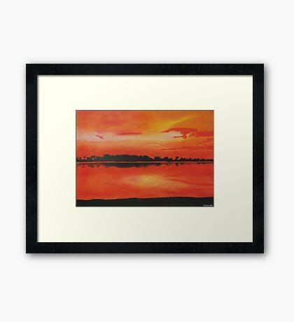 Red sky at night. Framed Print