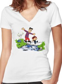 Little Viking and Strong Man Women's Fitted V-Neck T-Shirt