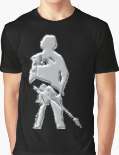 mercury art the rock legend with guitar on back silver metal Graphic T-Shirt