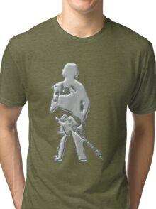 mercury art the rock legend with guitar on back silver metal Tri-blend T-Shirt