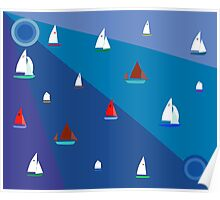 Dinghy sailing boats Poster