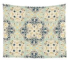 Protea Pattern in Deep Teal, Cream, Sage Green & Yellow Ochre Wall Tapestry