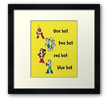 One bot, two bot, red bot, blue bot Framed Print